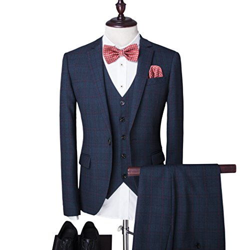 Men's One-Button Designer Luxurious Suits Plaid Tuxedos 3-Piece Set