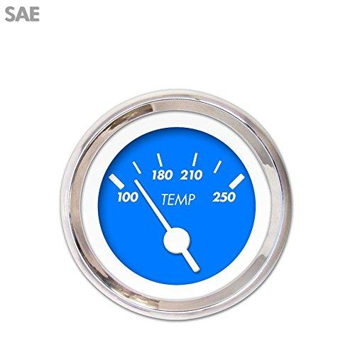 Aurora Instruments 3138 Marker Blue SAE Water Temperature Gauge White Vintage Needles, Chrome Trim Rings, Style Kit DIY Install