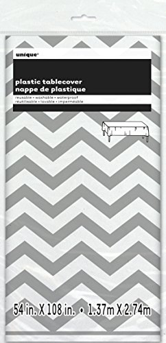 Chevron Plastic Tablecloth 108 Silver