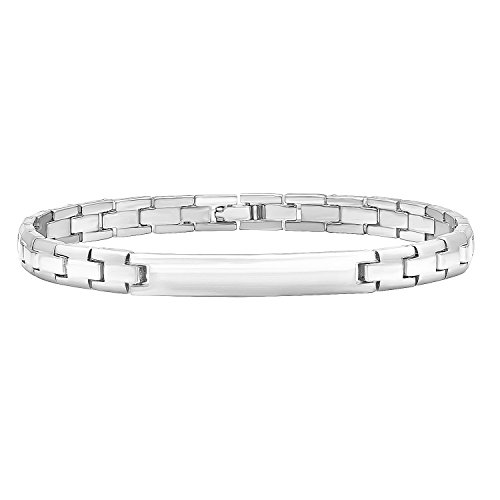 (The Bling Factory 7mm Rhodium Plated Engravable Identification Solid Link Bracelet, 9)