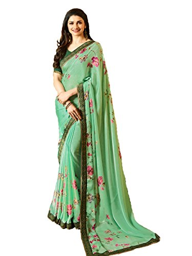 Blue Turquoise Sari (Indian Sari Fashion Designer Ethnic Simple Look Saree SHEESHA - STARWALK - 34 (Turquoise))