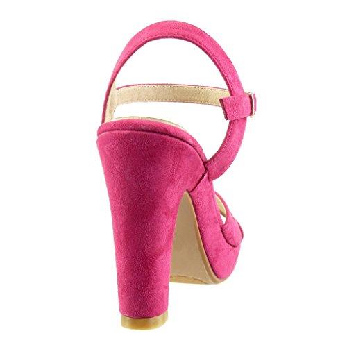 Angkorly - Chaussure Mode Sandale Escarpin plateforme sexy femme lanière boucle Talon haut bloc 10.5 CM - Fuschia