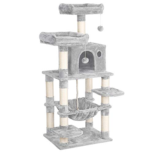 Yaheetech 58in Luxurious Multi-Level Cat Tree Condo, Stable Kitten Activity Tower Play House with Sisal-Covered Scratching Posts Perches Hammock and Funny Toys