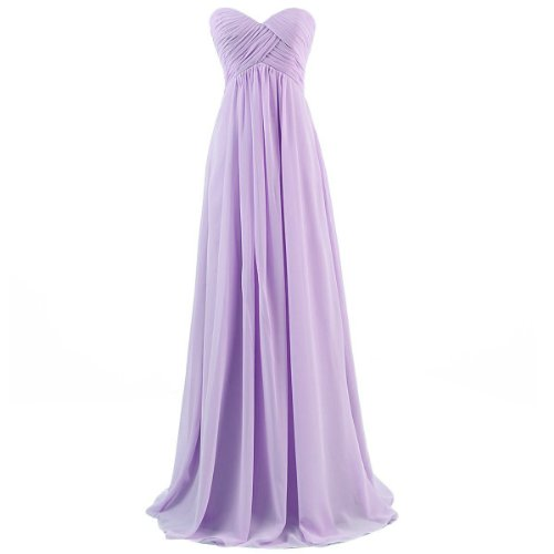 Lavender Fairy Dress - Ouman Sweetheart Bridesmaid Chiffon Prom Dress Long Evening Gown Lavender M