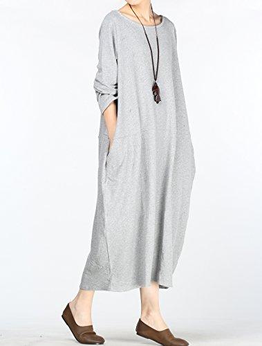 Vogstyle Vestido para mujer, para otoño, cuello redondo, con dobladillo de gran tamaño, estilo sudadera Style 2-Long Sleeve Light Grey