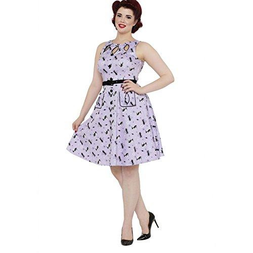 Womens-Voodoo-Vixen-Retro-Kitties-Keyhole-Flare-Dress-Purple