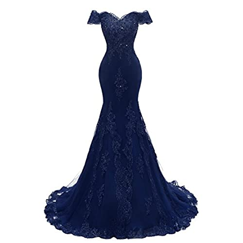 Himoda Womens V Neckline Beaded Evening Gowns Mermaid Lace Prom Dresses Long H074 24W Dark Navy