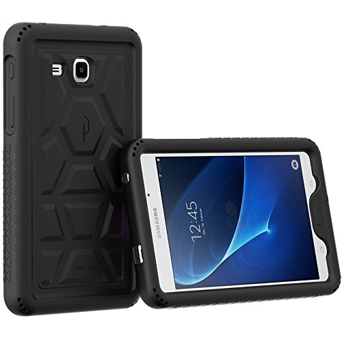 Heavy Duty Silicone Skin Case (Poetic Turtle Skin Heavy Duty Protection Silicone Case with Sound-Amplification feature for Samsung Galaxy Tab A 7.0 (2016) - Black)