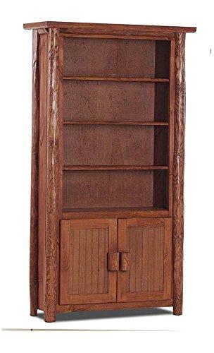 Chilmark Rustic Bookcase with Doors in Pecan - Pec Pecan