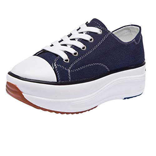 - Women Breathable Canvas Shoes, Lady Flat Fashion Sneakers Platform Casual Shoes Trainers Low-Tie Bottom Cloth Shoes