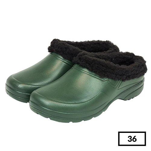 Sabot zoccoli ciabatte in materiale EVA con fodera in finto montone per donna uomo, taglia 36, colore: verde oliva