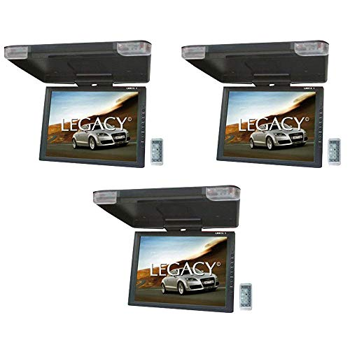 Legacy New LMR15.1 15″ LCD TFT Car/SUV/Truck Flip Down Roof Mount Monitor TV IR (3 Pack)