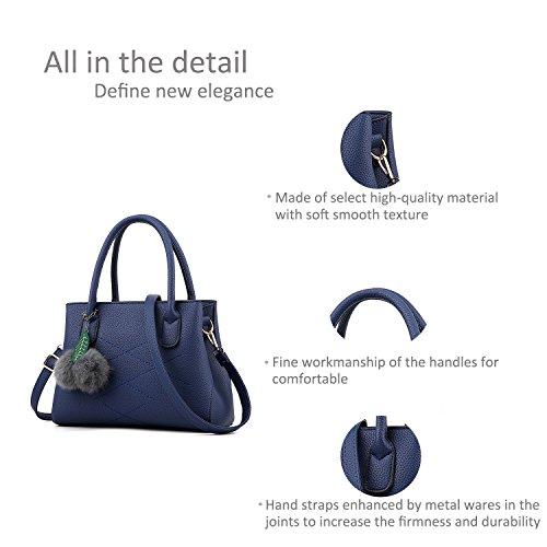 RUIREN Damen Umhängetasche Multifunktionstaschen, Schulter Handtaschen für Frauen Dunkelblau