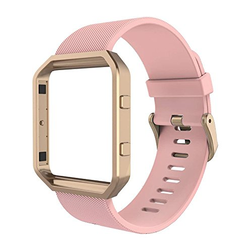 Fitbit Blaze Bands with Frame, Simpeak Silicone Replacement Band Strap with Rose Gold Frame Case for Fit bit Blaze Smart Fitness Watch, Large, - Blaze Rose