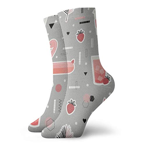 Novelty Cool Crazy Funny Dress Socks - Fruits Drinks Flamingo Socks - Gifts for Men & Women -