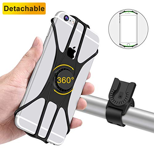 Universal Bike Phone Mount Detachable 360° Rotation Motorcycle Bicycle Holder for iPhone Xs MAX/XR/X/8/8P/7/7P/6/6P,Galaxy S7/S8/S9/S10,Google Pixel, HTC, LG, Nexus,Nokia, 4.0