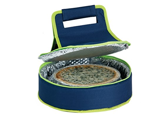 Picnic Plus Round Thermal Insulated Pie, Cake, Dessert Pot Luck Carrier Holds Up To A 12 inchD Dish