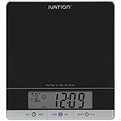 Digital Kitchen Scale w/Timer, Clock, Temperature & RH Levels – Provides Super Accurate Readings in Ounce, Fluid Ounce, Milliliter, Pound: Ounce & Gram Weight Units – Features 11-Pound Capacity & One-Button Tare Setting – Black