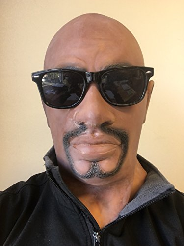 Realistic Black Man Latex Rubber Mask, Full Head