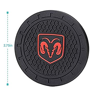 YANGYI 2.75 Inch Car Interior Accessories for Dodge Ram Cup Holder Insert Coaster - Silicone Anti Slip Cup Mat for Dodge Ram Charger Challenger Journey Durango Grand Caravan(2 Pack): Automotive