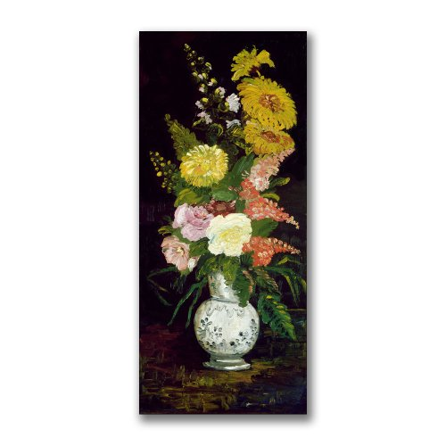 Trademark Fine Art Vase of Flowers by Paul Cezanne Canvas Wall Art, 12x24-Inch