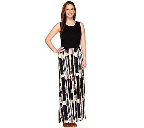 Lisa Rinna Collection Fashionable Printed Slvless Maxi Dress Black S New A264719
