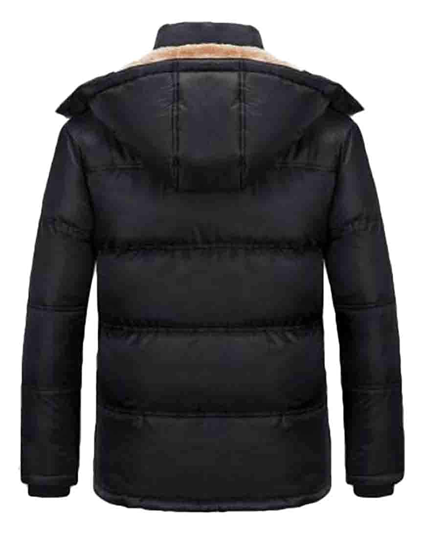 WNSY Men Thickened Hooded Big-Tall Plus Size Fleece Down Parka