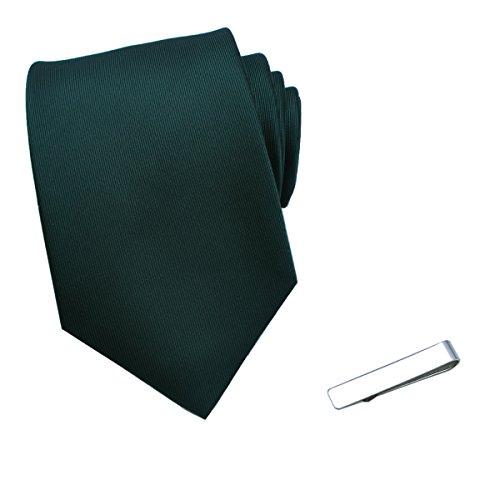 JESLANG Men's Solid Color Neck Ties and Simple Tie Clip Set Multiple (Clip Green Tie Clip)