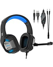 Casque Gaming PS4 Gamer Audio Filaire Anti Bruit PC avec Micro Xbox One Stereo Basse Son 7.1 Surround Réglable 3.5mm Connecteur pour Nintendo Switch Mac Ordinateur Laptop Tablette Smartephone