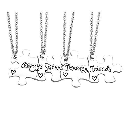 Jovivi Silver Engraved Sisters Friends Forever Jigsaw Puzzle Piece Pendant Necklaces for Best Friend BBF Friendship,Set of 4 (Four Best Friend Necklaces)