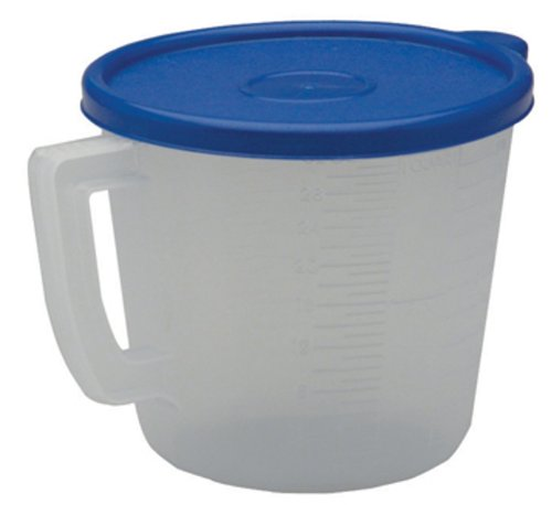United Solutions KW0003 Four Cup Clear Plastic Measuring Cup with Blue Lid - 32oz Measuring Cup with Handle and Lid in Clear