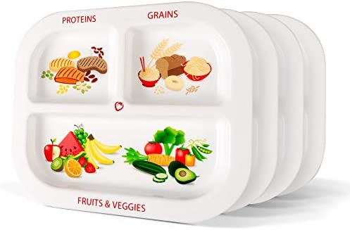 Health Beet Portion Plate Choose MyPlate for Kids Toddlers English Language Kids Plates with Dividers and Nutrition Portions Plus Dairy Bowls Set of 4