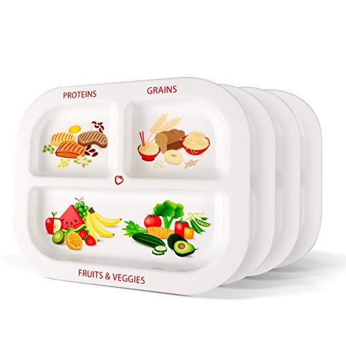 (Healthy Habits Divided Kids Portion Plate 4-Pack, 3 Fun & Balanced Sections for Picky Eaters: Fruits & Veggies, Grains, and Protein)