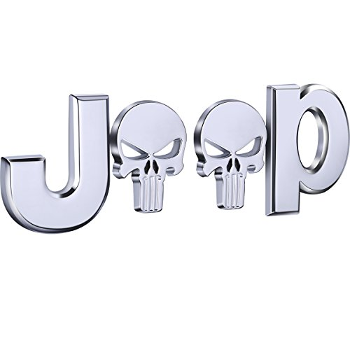 TK-KLZ 3D Metal for JEEP Skull Logo Premium Car Side Fender Rear Trunk Emblem Badge Sticker Decals for Chrysler JEEP Grand Cherokee Wrangler Compass Cherokee Renegade Patriot Grand Comander