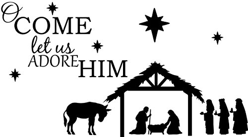 - Empresal Wall Decal Quote O Come Let Us Adore Him with Nativity Christmas Vinyl Sticker Saying Art