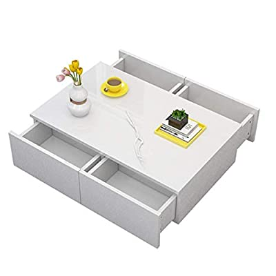 Glossy White Modern Coffee Table with 4 Storage Drawers, Small Size Rectangle Wood Tea Table Easy Assembly Furniture for Living Room Office Home Cocktail Table