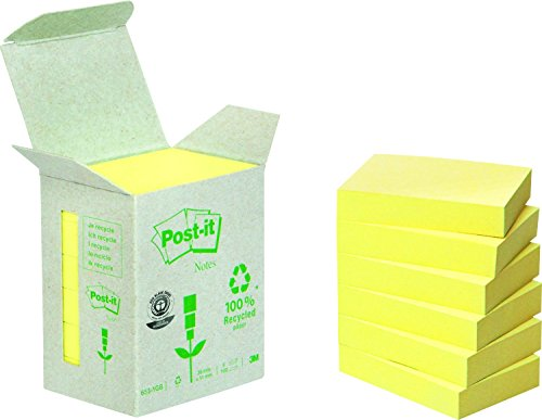 Post-it 6531B Haftnotiz Recycling Notes Mini Tower, 38 x 51 mm, 80 g/qm, 100 Blatt, 6 Block, gelb