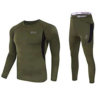 Convallaria Men's Thermal Underwear Sets Ultra Soft Wicking Crew Neck Long Johns Fleece Lined Sweat Bottom Top Quick Drying Outdoor Camping Sports Warm Underwear Set Army Green, M
