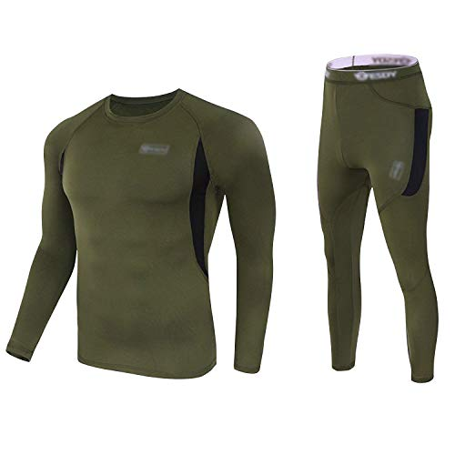 Thermal Underwear Set Winter Hunting Gear Sport Long Johns Base Layer Bottom Top Green