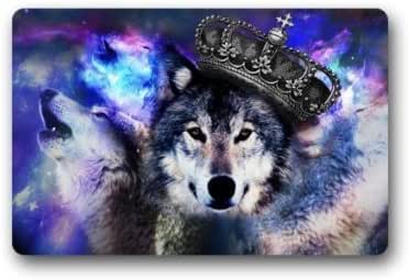 "Custom Machine-washable Hipster Wolf with Crown in Galaxy Door Mat Decorative Doormat Indoor/Outdoor Doormat 23.6"" x 15.7"" Non-woven Fabric Non Slip Gate Pad Rug"