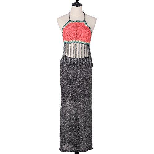 Women Handmade Crochet Knitting Crop Bikini Top Swimming Beach Bra Swimwear Cover-up Backless Binding Vest Tassel Hollow