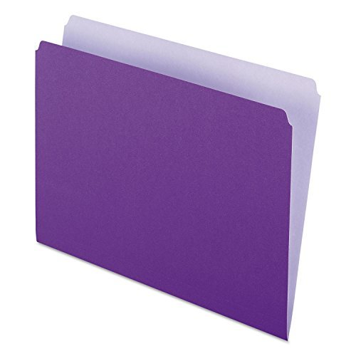 Pendaflex 152-LAV Two-Tone File Folder- Straight Top Tab- Letter- Lavender/Light Lavender- 100/Box by Pendaflex Essentials