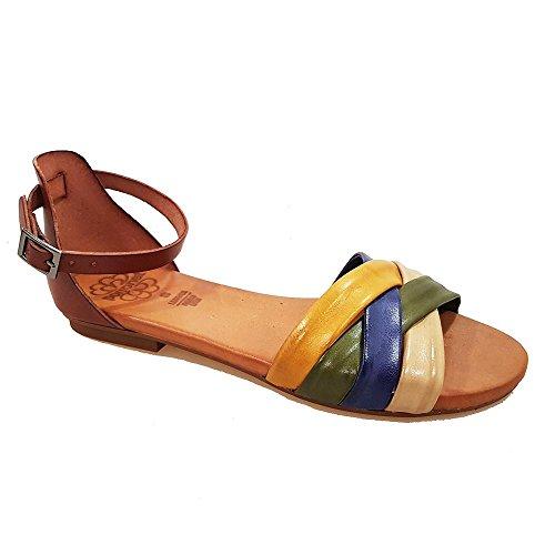 Sandalia tubulare multicolor talon cuero. Talla 38