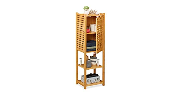 Relaxdays Estantería de baño, Cinco baldas, con Puerta, Mueble Auxiliar Estrecho, Bambú, 113 x 35 x 29 cm, 1 Ud, Marrón: Amazon.es: Juguetes y juegos