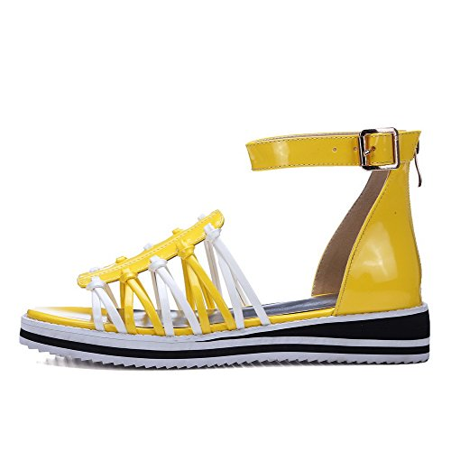 VogueZone009 Women's Open Toe Zipper Pu Assorted Color Low Heels Sandals Yellow x7z6M