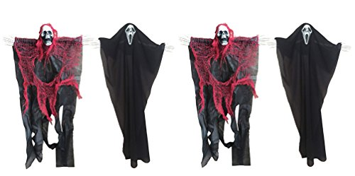4 Pieces 24 Inch Halloween Hanging Skeleton Reaper Ghost for Halloween Decorations