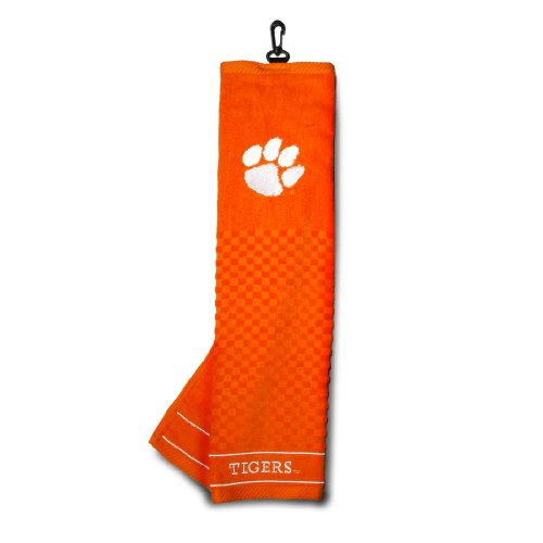 Team Golf NCAA Clemson Tigers Embroidered Golf Towel, Checkered Scrubber Design, Embroidered Logo
