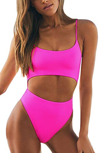 - LEISUP Woman's Strappy Criss Cross Bandage Cutout Thong Bathing Suit,ROSEO S