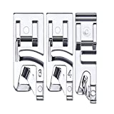 3pcs Narrow Rolled Hem Sewing Machine Presser Foot Set Suitable for Household Multi-Function Sewing Machines (3 mm, 4 mm and 6 mm)