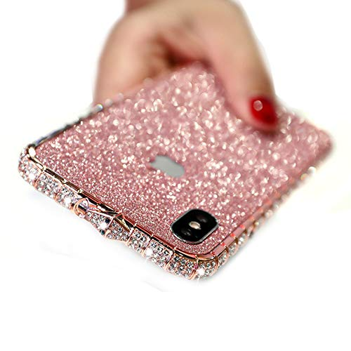 MeiQing iPhone Xs Max Case for Women Glitter Bling Back Skin Sticker + Crystal Edge Cover for iPhone Xs Max with Screen Protector